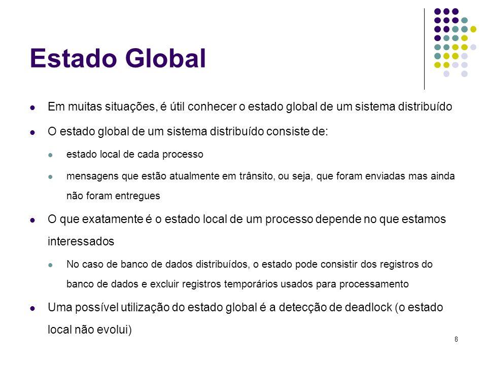 8 Estado Global Em muitas situações, é útil conhecer o estado global de um sistema distribuído O estado global de um sistema distribuído consiste de: