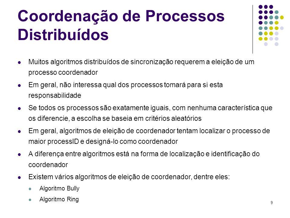 9 Coordenação de Processos Distribuídos Muitos algoritmos distribuídos de sincronização requerem a eleição de um processo coordenador Em geral, não in