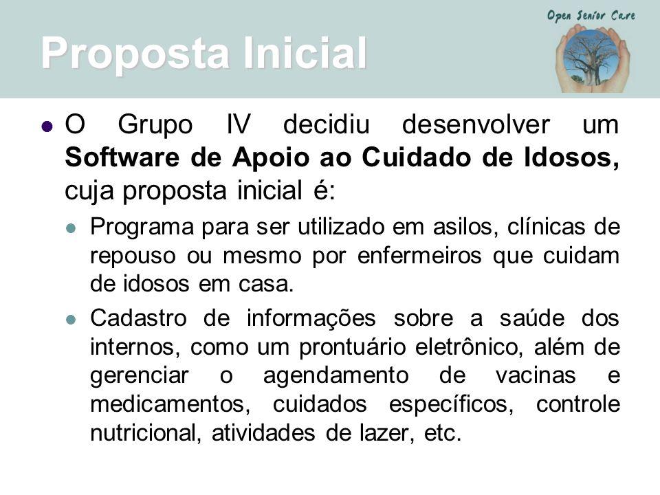 Proposta Inicial O Grupo IV decidiu desenvolver um Software de Apoio ao Cuidado de Idosos, cuja proposta inicial é: Programa para ser utilizado em asi