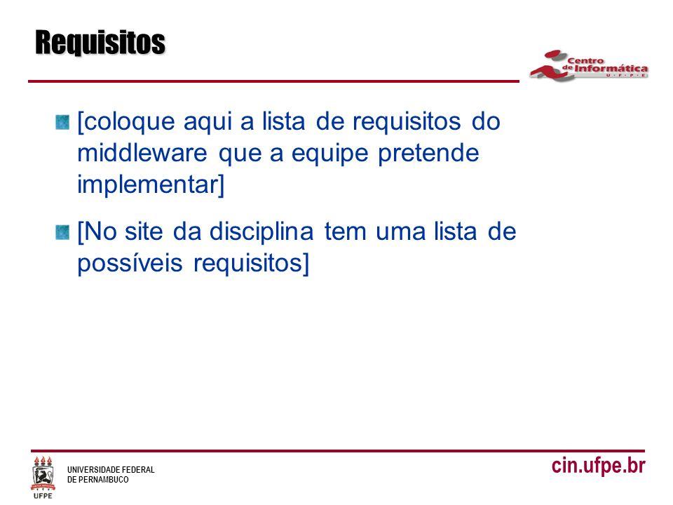 UNIVERSIDADE FEDERAL DE PERNAMBUCO cin.ufpe.brRequisitos [coloque aqui a lista de requisitos do middleware que a equipe pretende implementar] [No site