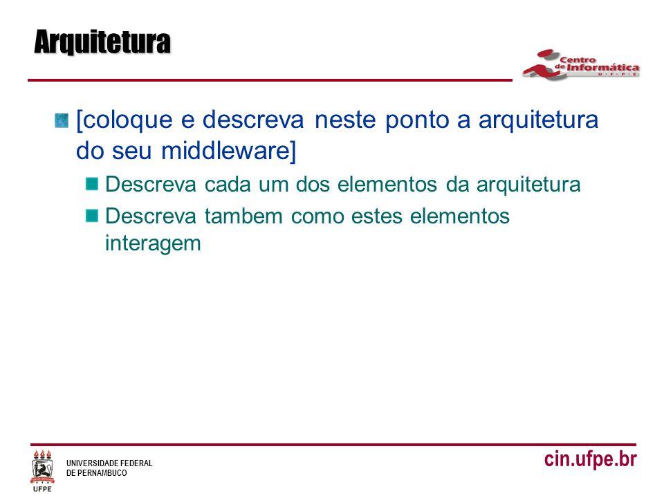 UNIVERSIDADE FEDERAL DE PERNAMBUCO cin.ufpe.brArquitetura [coloque e descreva neste ponto a arquitetura do seu middleware] Descreva cada um dos elementos da arquitetura Descreva tambem como estes elementos interagem