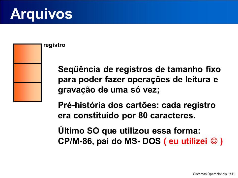 Sistemas Operacionais #11 registro Arquivos Seqüência de registros de tamanho fixo para poder fazer operações de leitura e gravação de uma só vez; Pré-história dos cartões: cada registro era constituído por 80 caracteres.