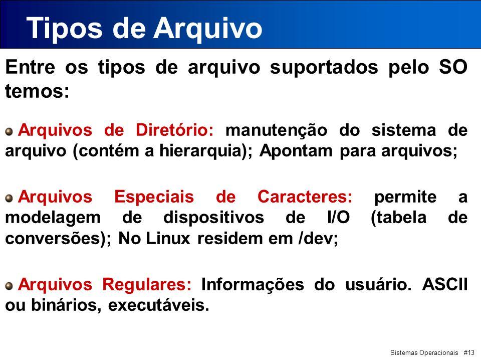 Sistemas Operacionais #13 Entre os tipos de arquivo suportados pelo SO temos: Arquivos de Diretório: manutenção do sistema de arquivo (contém a hierarquia); Apontam para arquivos; Arquivos Especiais de Caracteres: permite a modelagem de dispositivos de I/O (tabela de conversões); No Linux residem em /dev; Arquivos Regulares: Informações do usuário.