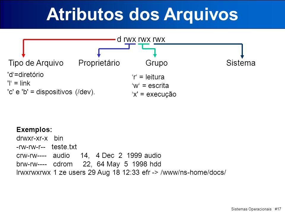 Sistemas Operacionais #17 Atributos dos Arquivos d rwx rwx rwx Tipo de Arquivo Proprietário Grupo Sistema d=diretório l = link c e b = dispositivos (/dev).