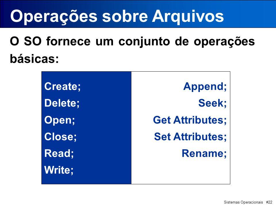 Sistemas Operacionais #22 O SO fornece um conjunto de operações básicas: Create; Delete; Open; Close; Read; Write; Append; Seek; Get Attributes; Set Attributes; Rename; Operações sobre Arquivos