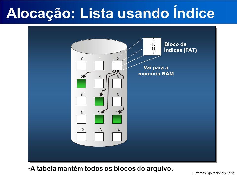 Sistemas Operacionais #32 Alocação: Lista usando Índice 012 345 678 91011 121314 Bloco de Índices (FAT) 3 10 11 7 Vai para a memória RAM A tabela mantém todos os blocos do arquivo.