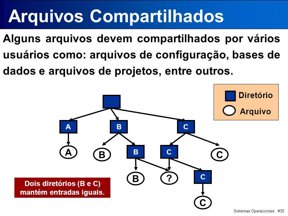 Sistemas Operacionais #35 Arquivos Compartilhados Alguns arquivos devem compartilhados por vários usuários como: arquivos de configuração, bases de dados e arquivos de projetos, entre outros.