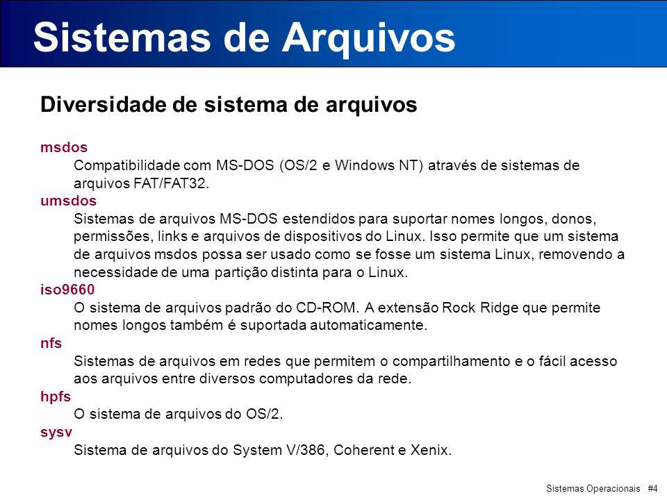Sistemas Operacionais #4 Sistemas de Arquivos Diversidade de sistema de arquivos msdos Compatibilidade com MS-DOS (OS/2 e Windows NT) através de siste