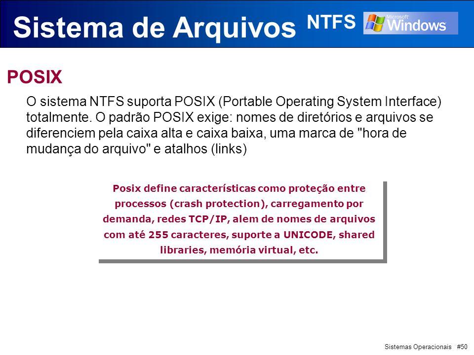 Sistemas Operacionais #50 Sistema de Arquivos NTFS POSIX O sistema NTFS suporta POSIX (Portable Operating System Interface) totalmente.