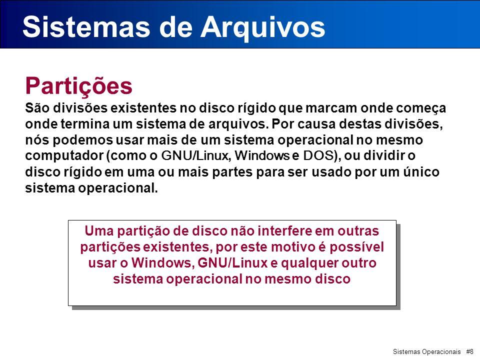 Sistemas Operacionais #39 FAT (File Alocation Table) Sistema de Arquivos FAT Disco Rígido P1 P2P3...