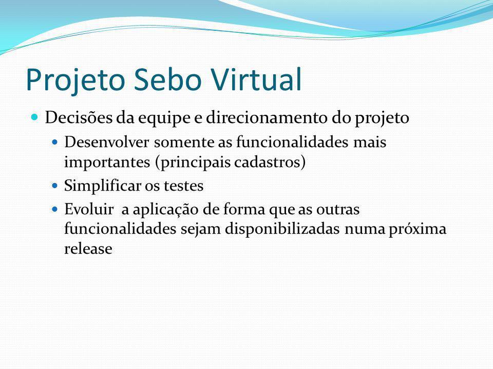 Projeto Sebo Virtual Decisões da equipe e direcionamento do projeto Desenvolver somente as funcionalidades mais importantes (principais cadastros) Sim