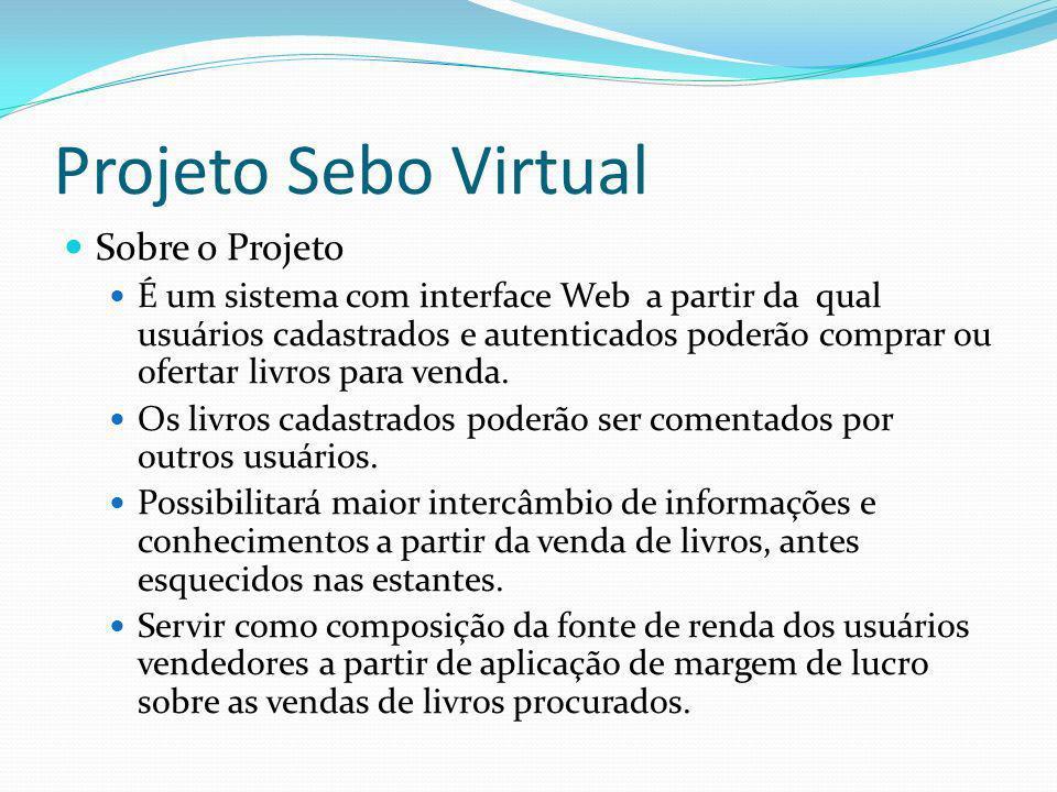 Projeto Sebo Virtual Sobre o Projeto É um sistema com interface Web a partir da qual usuários cadastrados e autenticados poderão comprar ou ofertar li