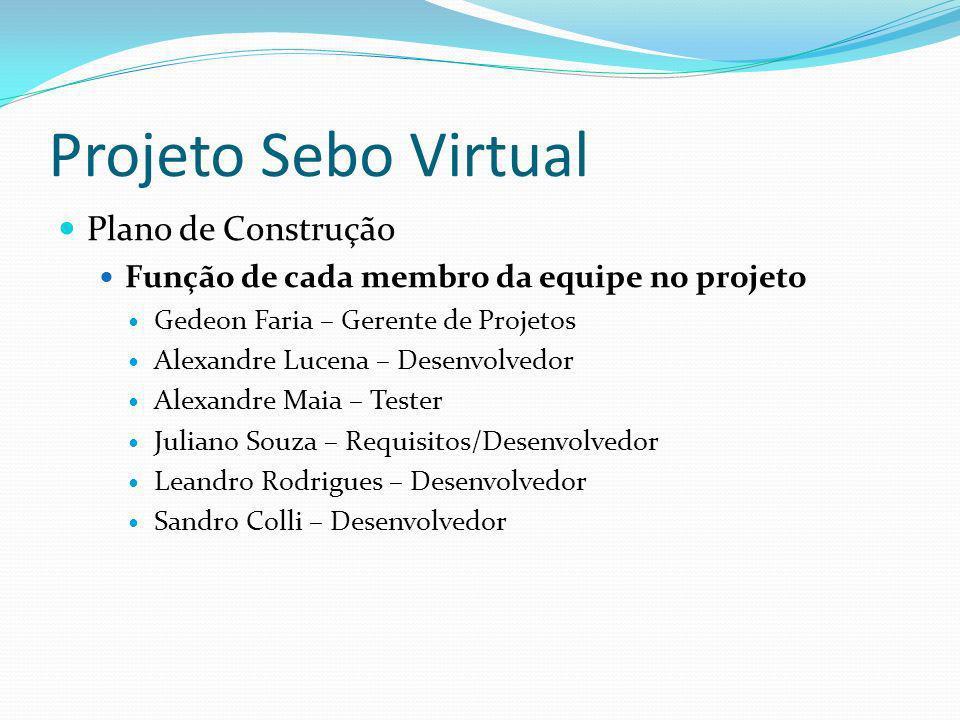 Projeto Sebo Virtual Plano de Construção Função de cada membro da equipe no projeto Gedeon Faria – Gerente de Projetos Alexandre Lucena – Desenvolvedo