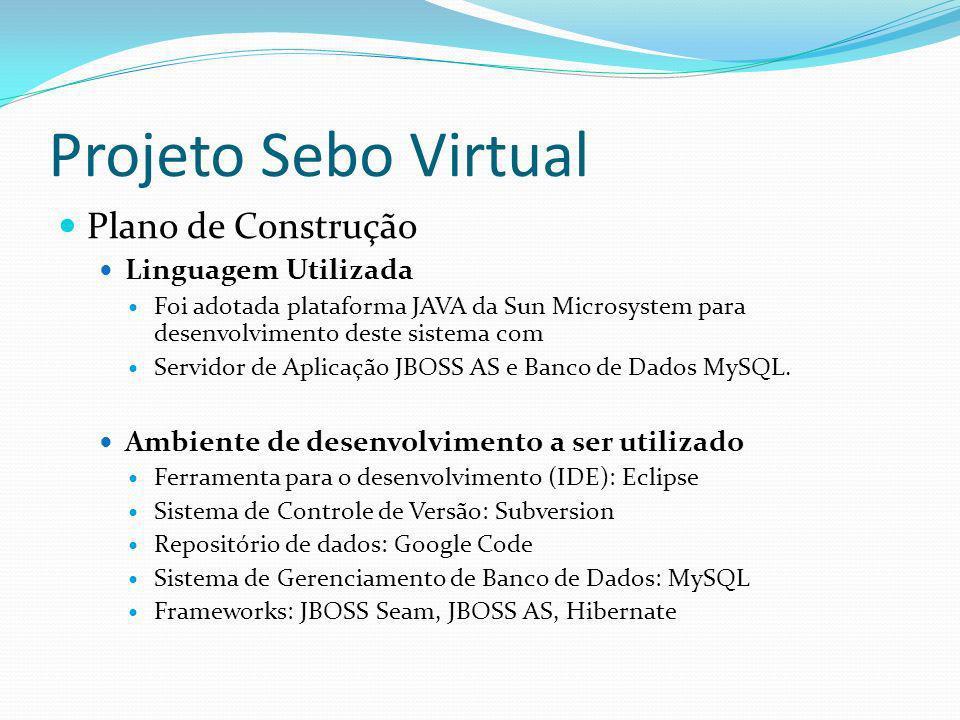 Projeto Sebo Virtual Plano de Construção Linguagem Utilizada Foi adotada plataforma JAVA da Sun Microsystem para desenvolvimento deste sistema com Ser