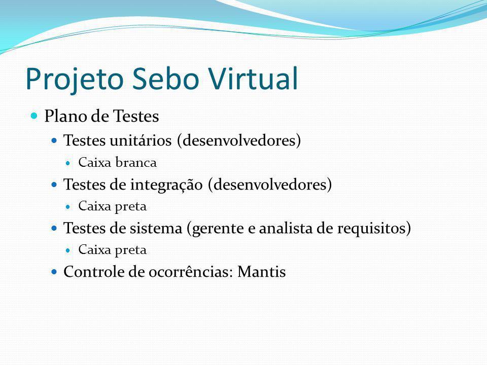 Projeto Sebo Virtual Plano de Testes Testes unitários (desenvolvedores) Caixa branca Testes de integração (desenvolvedores) Caixa preta Testes de sistema (gerente e analista de requisitos) Caixa preta Controle de ocorrências: Mantis