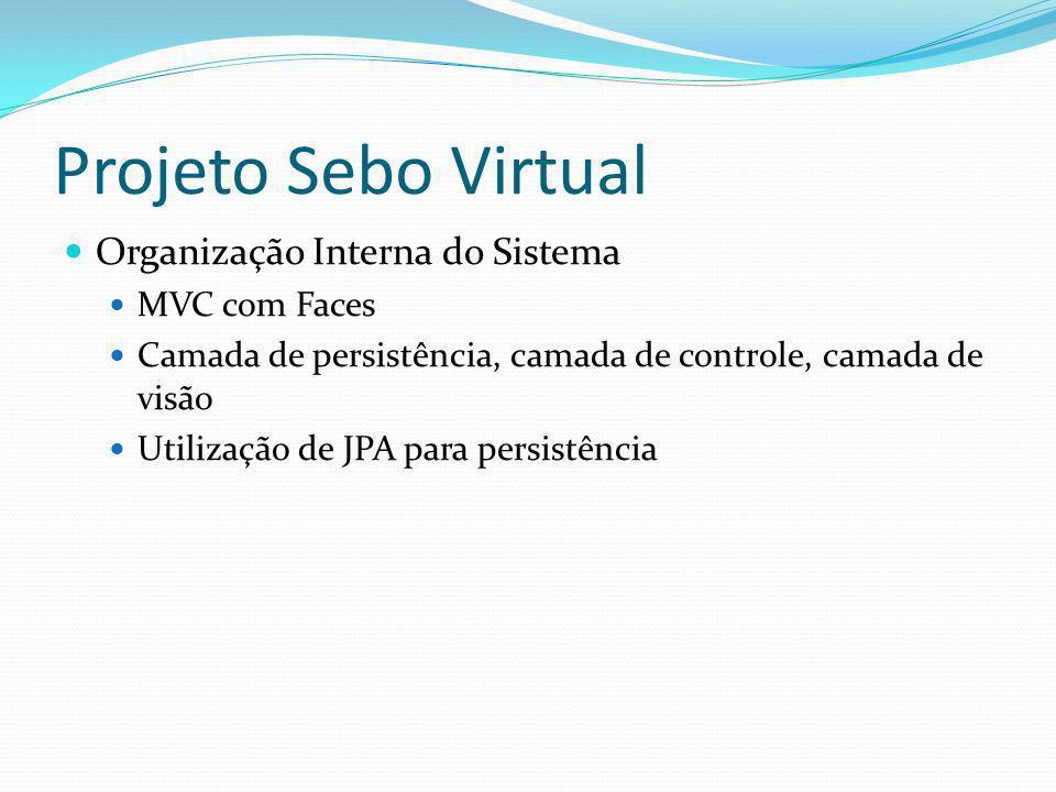 Projeto Sebo Virtual Organização Interna do Sistema MVC com Faces Camada de persistência, camada de controle, camada de visão Utilização de JPA para p