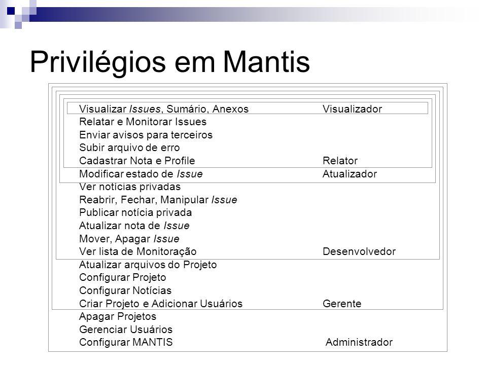 Privilégios em Mantis Visualizar Issues, Sumário, AnexosVisualizador Relatar e Monitorar Issues Enviar avisos para terceiros Subir arquivo de erro Cad