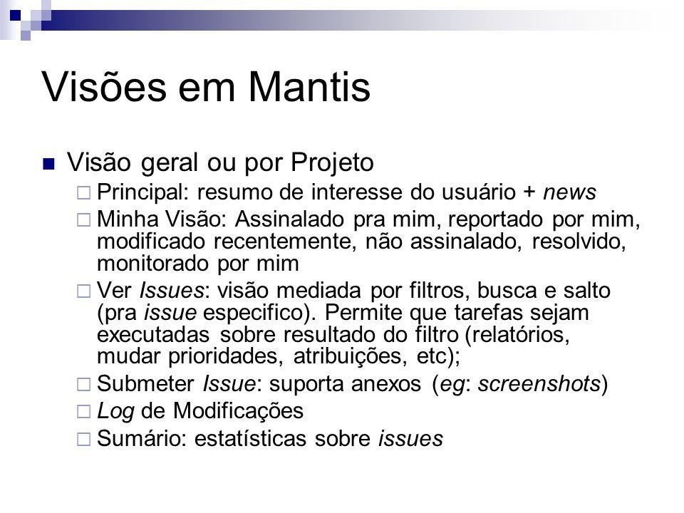 Visões em Mantis Visão geral ou por Projeto Principal: resumo de interesse do usuário + news Minha Visão: Assinalado pra mim, reportado por mim, modif