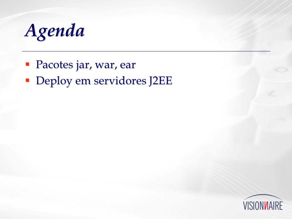 Agenda Pacotes jar, war, ear Pacotes jar, war, ear Deploy em servidores J2EE Deploy em servidores J2EE