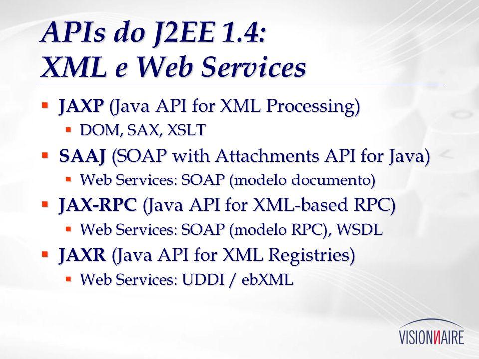 APIs do J2EE 1.4: XML e Web Services JAXP (Java API for XML Processing) JAXP (Java API for XML Processing) DOM, SAX, XSLT DOM, SAX, XSLT SAAJ (SOAP wi