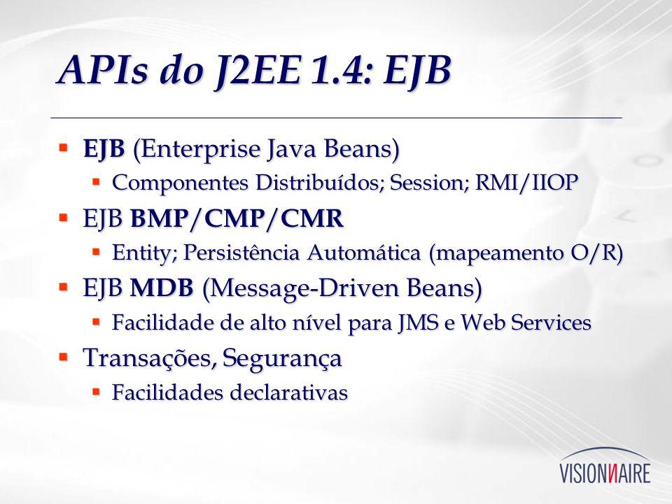 APIs do J2EE 1.4: EJB EJB (Enterprise Java Beans) EJB (Enterprise Java Beans) Componentes Distribuídos; Session; RMI/IIOP Componentes Distribuídos; Se