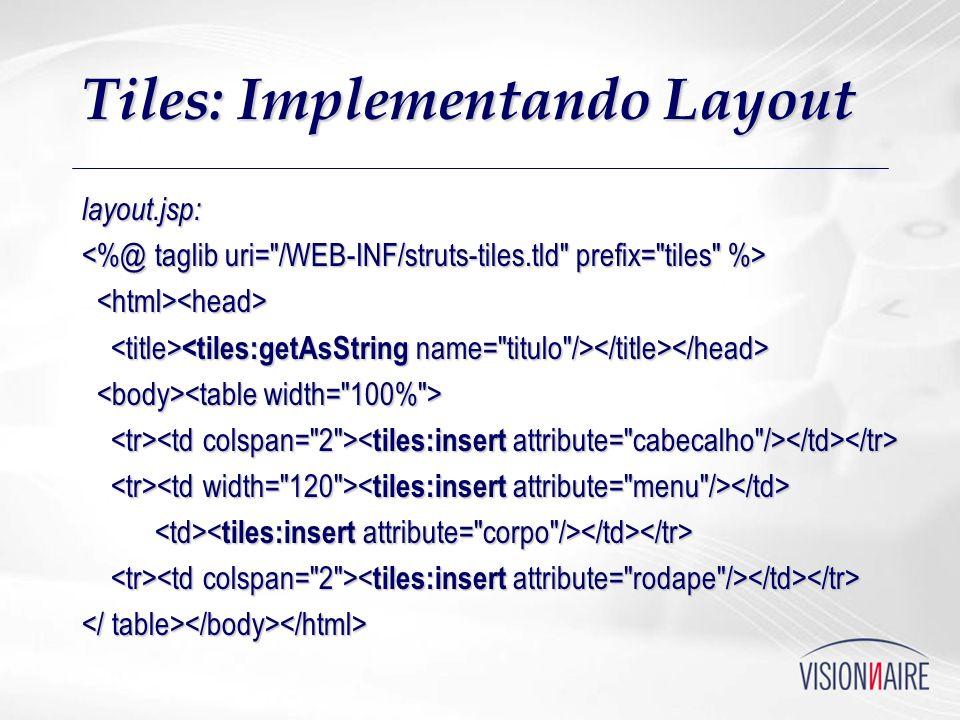 Tiles: Implementando Layout layout.jsp: