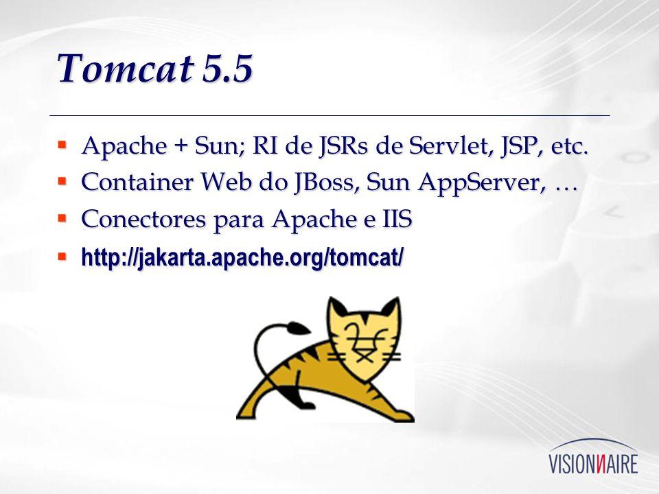 Tomcat 5.5 Apache + Sun; RI de JSRs de Servlet, JSP, etc. Apache + Sun; RI de JSRs de Servlet, JSP, etc. Container Web do JBoss, Sun AppServer, … Cont