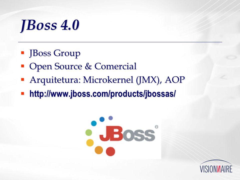 JBoss 4.0 JBoss Group JBoss Group Open Source & Comercial Open Source & Comercial Arquitetura: Microkernel (JMX), AOP Arquitetura: Microkernel (JMX),