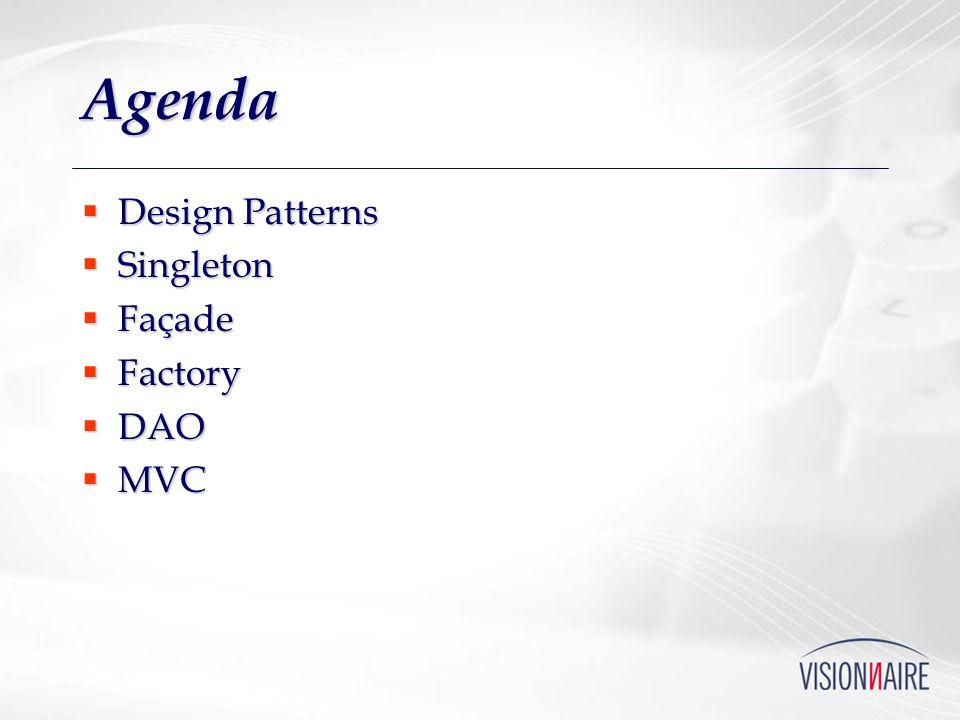 Agenda Design Patterns Design Patterns Singleton Singleton Façade Façade Factory Factory DAO DAO MVC MVC