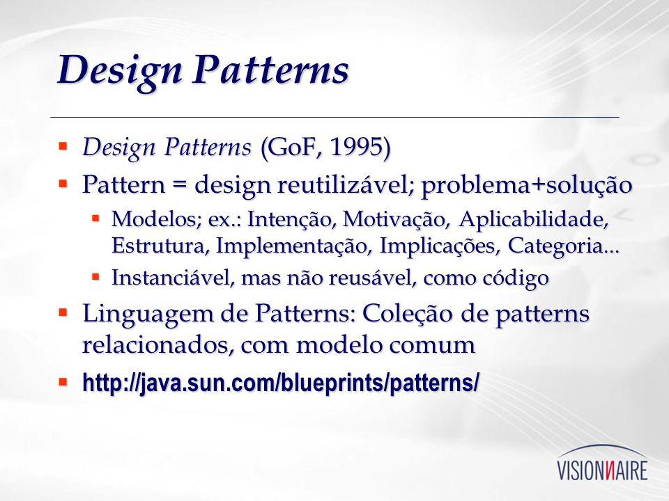 Design Patterns Design Patterns (GoF, 1995) Design Patterns (GoF, 1995) Pattern = design reutilizável; problema+solução Pattern = design reutilizável;