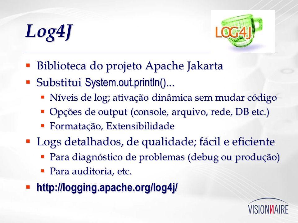 Log4J Biblioteca do projeto Apache Jakarta Biblioteca do projeto Apache Jakarta Substitui System.out.println()... Substitui System.out.println()... Ní