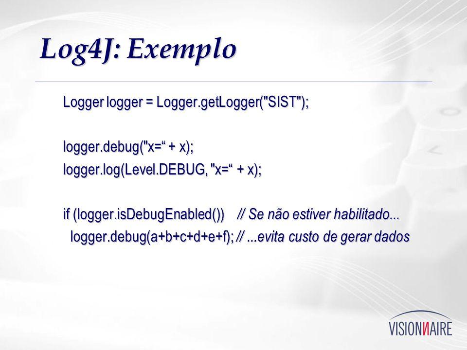 Log4J: Exemplo Logger logger = Logger.getLogger(