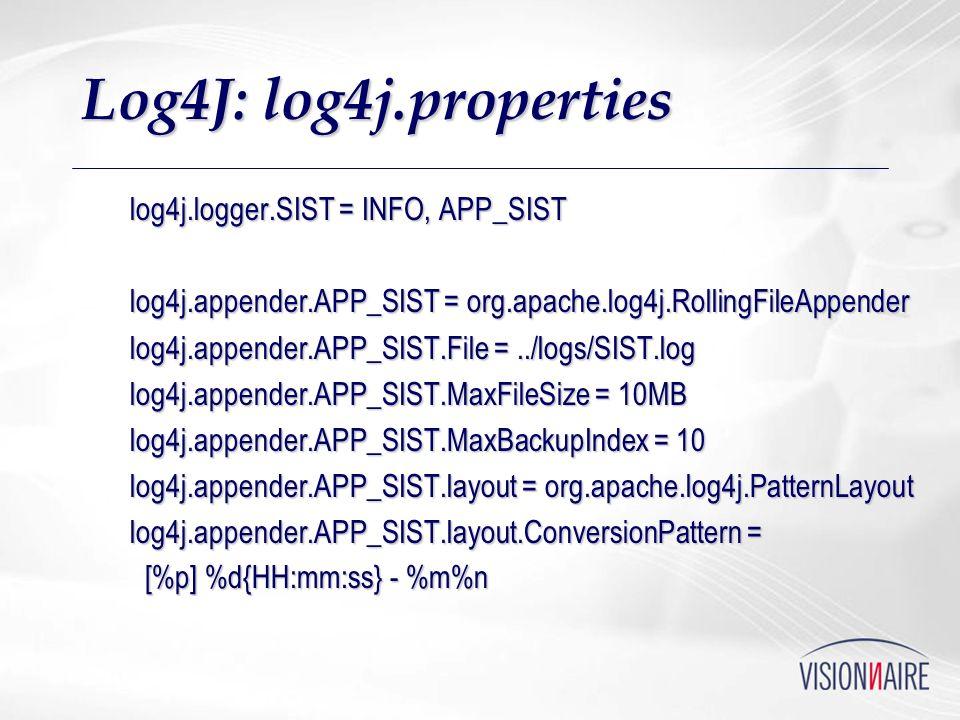 Log4J: log4j.properties log4j.logger.SIST = INFO, APP_SIST log4j.appender.APP_SIST = org.apache.log4j.RollingFileAppender log4j.appender.APP_SIST.File