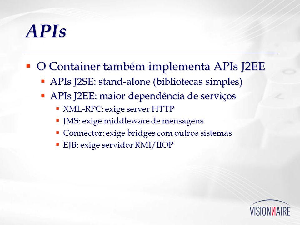 DataSource Abstração sobre obtenção de conexões Abstração sobre obtenção de conexões J2EE, mas também pode ser usada sem container J2EE, mas também pode ser usada sem container Suporte a JNDI, pools, transações distribuídas Suporte a JNDI, pools, transações distribuídas Configuração no container Configuração no container Context ctx = new InitialContext(); DataSource ds = (DataSource)ctx.lookup( jdbc/Sistema );...