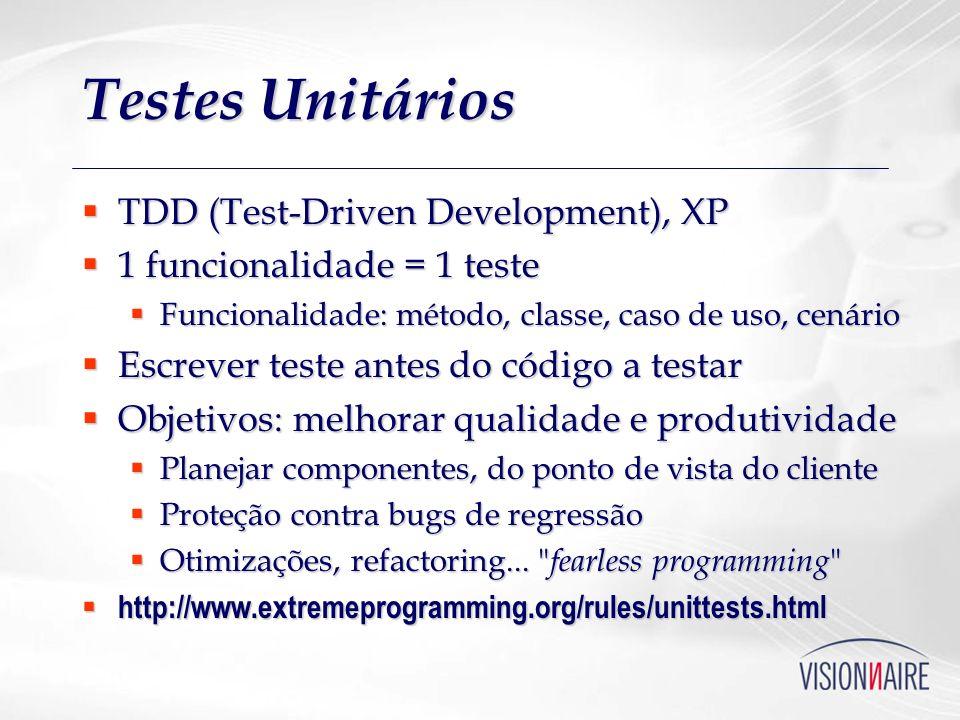 Testes Unitários TDD (Test-Driven Development), XP TDD (Test-Driven Development), XP 1 funcionalidade = 1 teste 1 funcionalidade = 1 teste Funcionalid