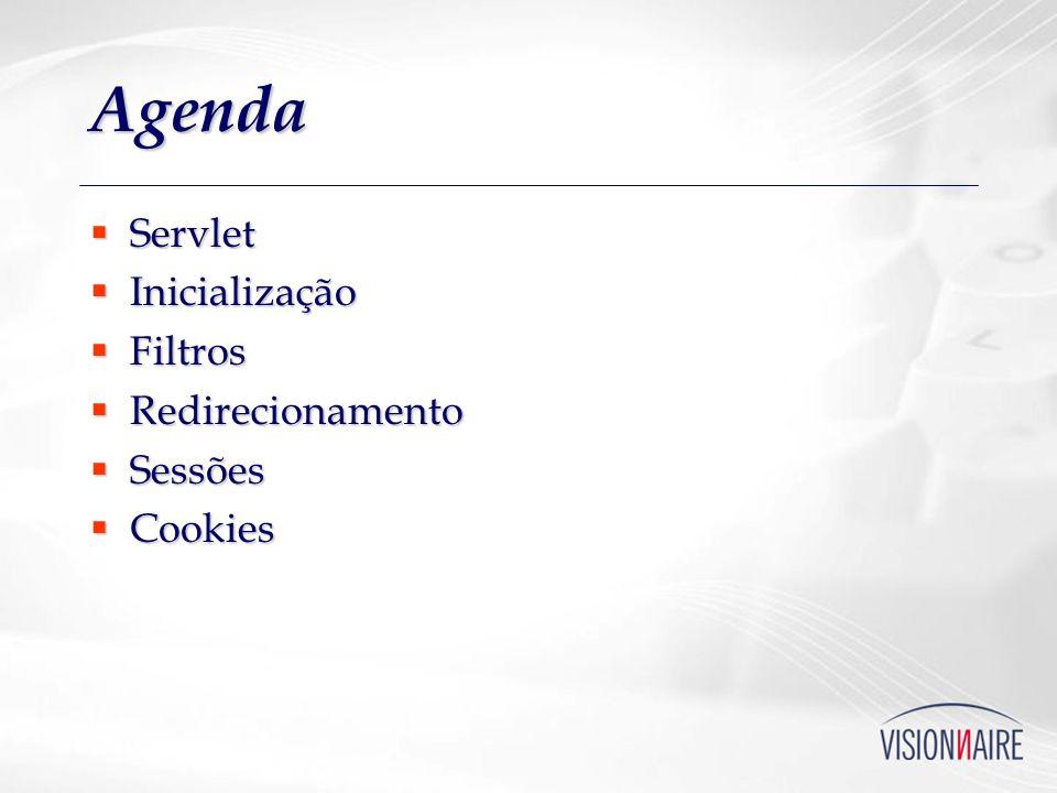 Agenda Servlet Servlet Inicialização Inicialização Filtros Filtros Redirecionamento Redirecionamento Sessões Sessões Cookies Cookies