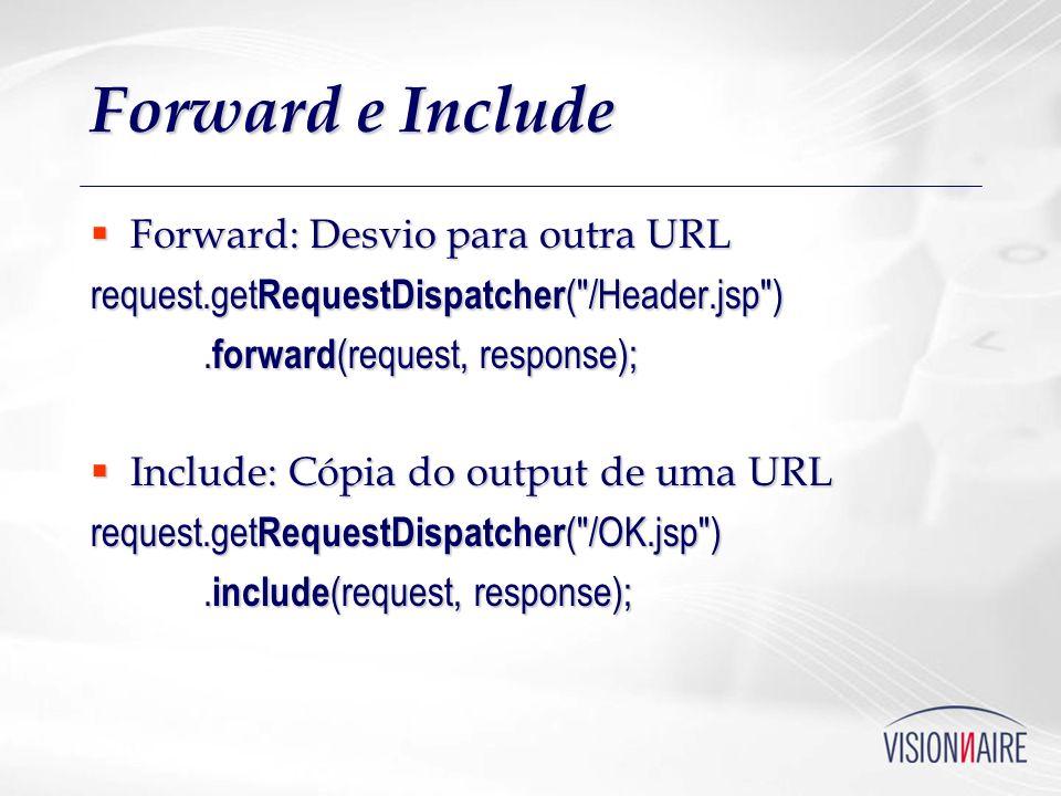 Forward e Include Forward: Desvio para outra URL Forward: Desvio para outra URL request.get RequestDispatcher (