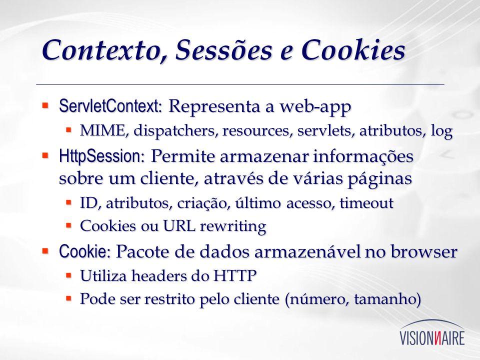 Contexto, Sessões e Cookies ServletContext : Representa a web-app ServletContext : Representa a web-app MIME, dispatchers, resources, servlets, atribu