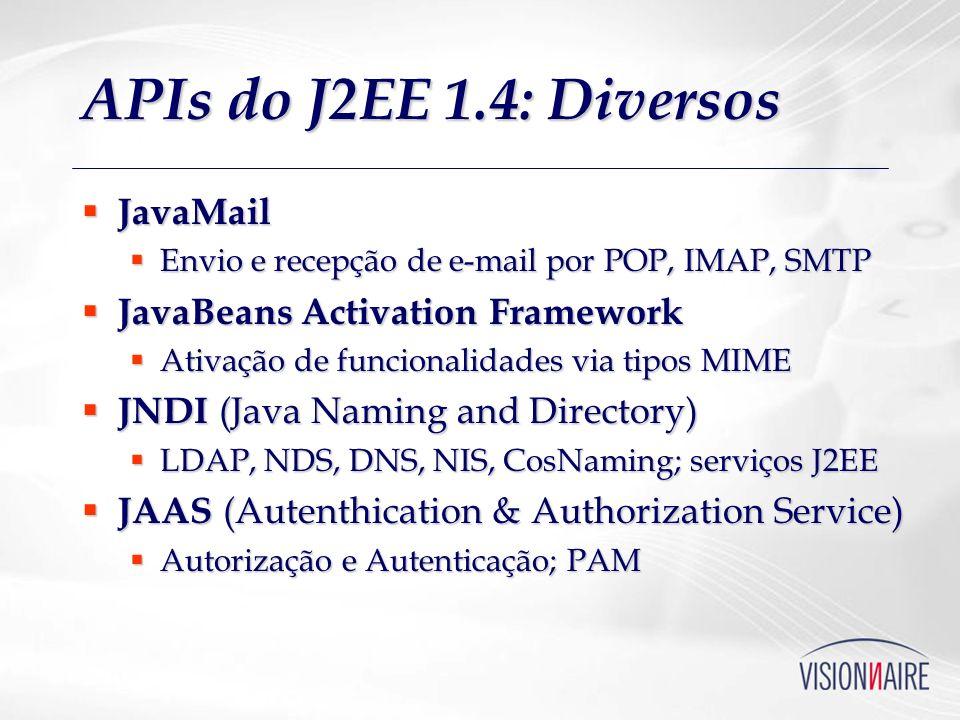 APIs do J2EE 1.4: Middleware JMS (Java Message Service) JMS (Java Message Service) Comunicação assíncrona robusta Comunicação assíncrona robusta JTA (Java Transaction API) JTA (Java Transaction API) Transações de alto nível Transações de alto nível JCA (J2EE Connector Architecture) JCA (J2EE Connector Architecture) Integração com sistemas não-J2EE Integração com sistemas não-J2EE JDBC (Java Database Connectivity) JDBC (Java Database Connectivity) J2SE + DataSources, transações XA J2SE + DataSources, transações XA