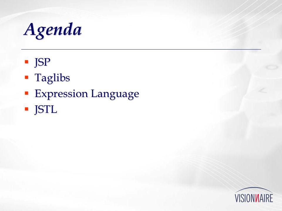 Agenda JSP JSP Taglibs Taglibs Expression Language Expression Language JSTL JSTL