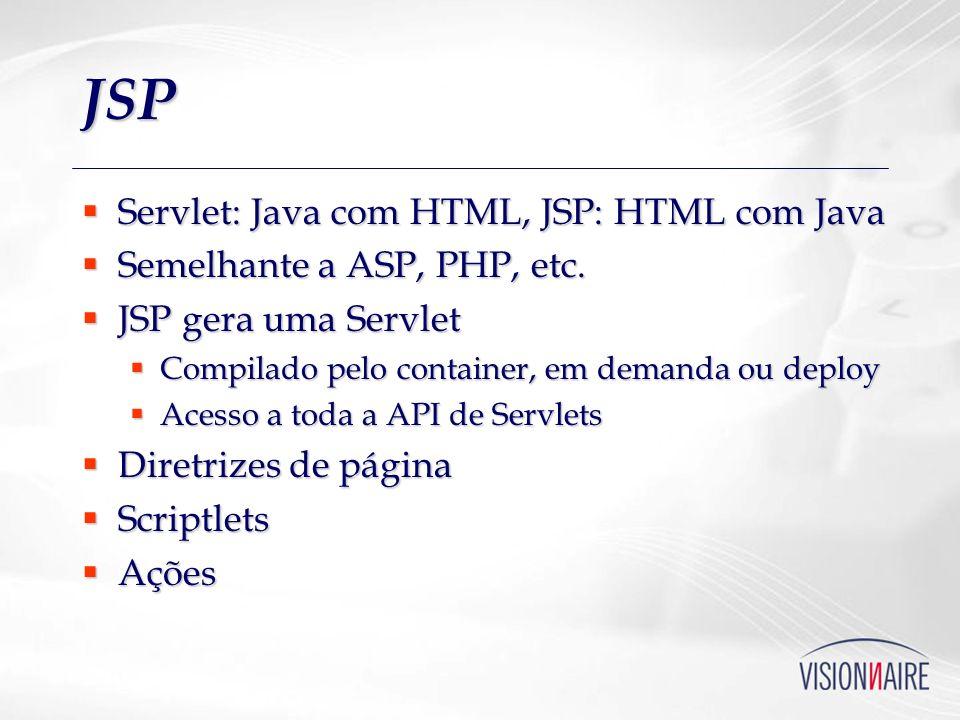 JSP Servlet: Java com HTML, JSP: HTML com Java Servlet: Java com HTML, JSP: HTML com Java Semelhante a ASP, PHP, etc. Semelhante a ASP, PHP, etc. JSP