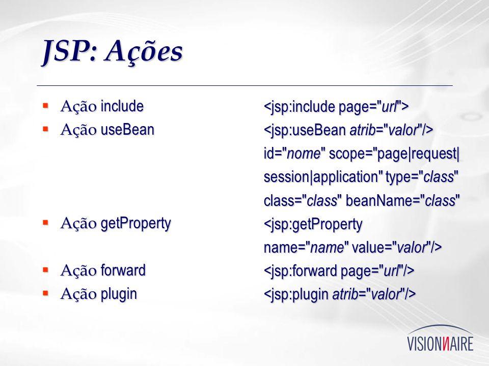 JSP: Ações Ação include Ação include Ação useBean Ação useBean Ação getProperty Ação getProperty Ação forward Ação forward Ação plugin Ação plugin id=