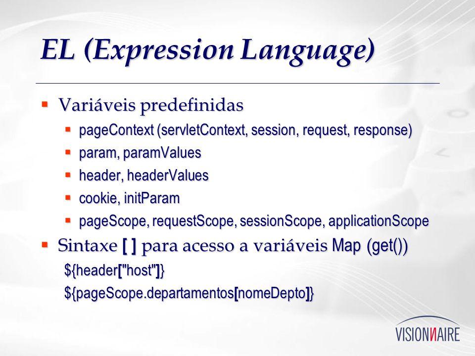 EL (Expression Language) Variáveis predefinidas Variáveis predefinidas pageContext (servletContext, session, request, response) pageContext (servletCo