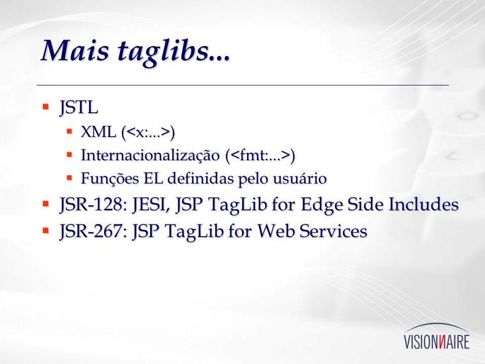 Mais taglibs... JSTL JSTL XML ( ) XML ( ) Internacionalização ( ) Internacionalização ( ) Funções EL definidas pelo usuário Funções EL definidas pelo