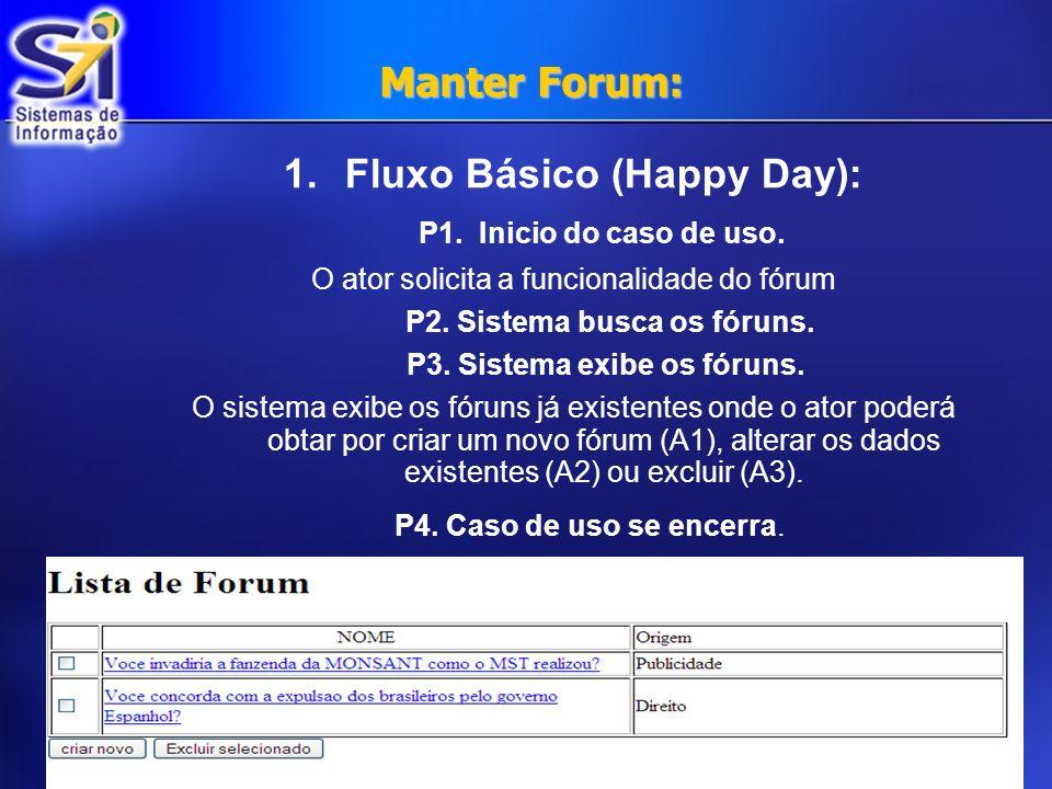 Manter Forum: 1.Fluxo Básico (Happy Day): P1. Inicio do caso de uso. O ator solicita a funcionalidade do fórum P2. Sistema busca os fóruns. P3. Sistem