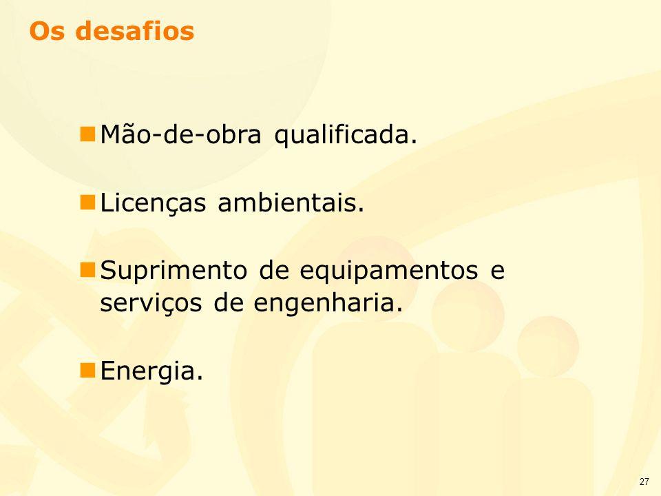 27 nMão-de-obra qualificada. nLicenças ambientais. nSuprimento de equipamentos e serviços de engenharia. nEnergia. Os desafios