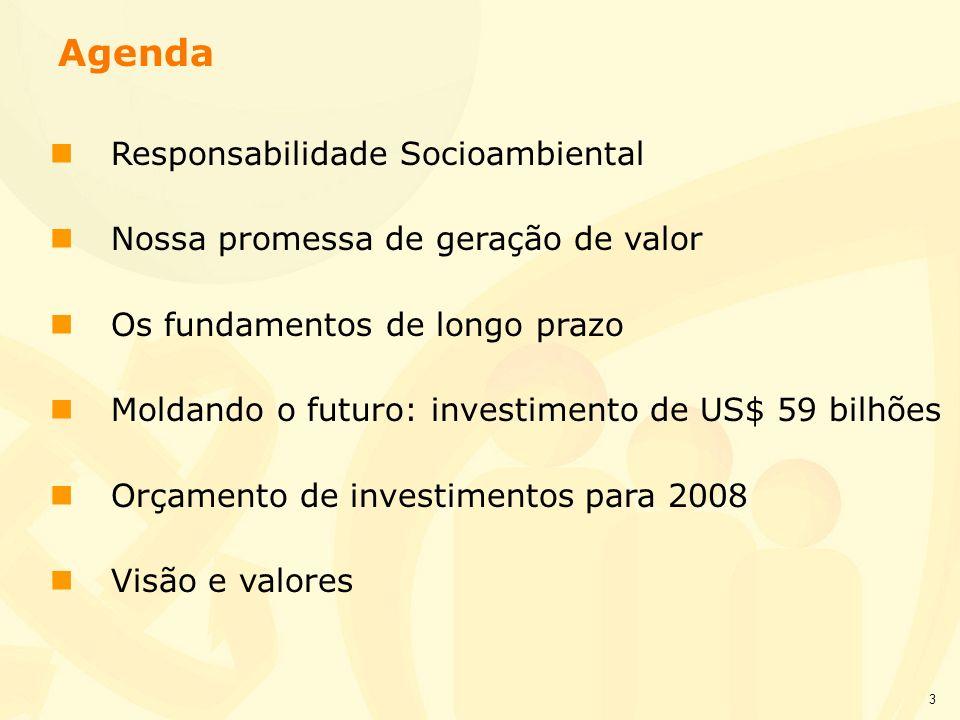 3 nResponsabilidade Socioambiental nNossa promessa de geração de valor nOs fundamentos de longo prazo nMoldando o futuro: investimento de US$ 59 bilhõ