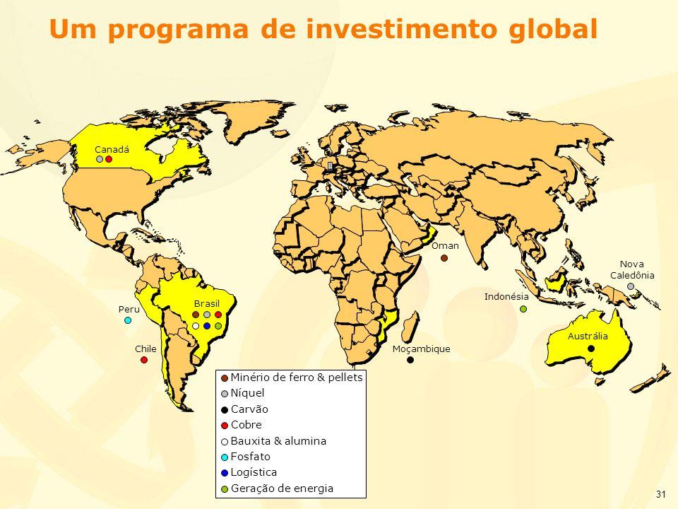 31 Canadá Brasil Moçambique Um programa de investimento global Minério de ferro & pellets Níquel Carvão Cobre Bauxita & alumina Fosfato Logística Gera