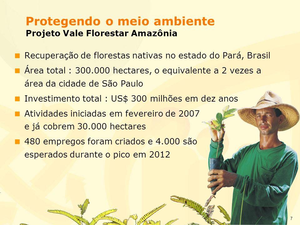 7 Recuperação de florestas nativas no estado do Pará, Brasil Área total : 300.000 hectares, o equivalente a 2 vezes a área da cidade de São Paulo Inve