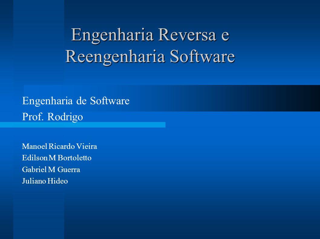 Engenharia Reversa e Reengenharia Software Engenharia de Software Prof. Rodrigo Manoel Ricardo Vieira Edilson M Bortoletto Gabriel M Guerra Juliano Hi
